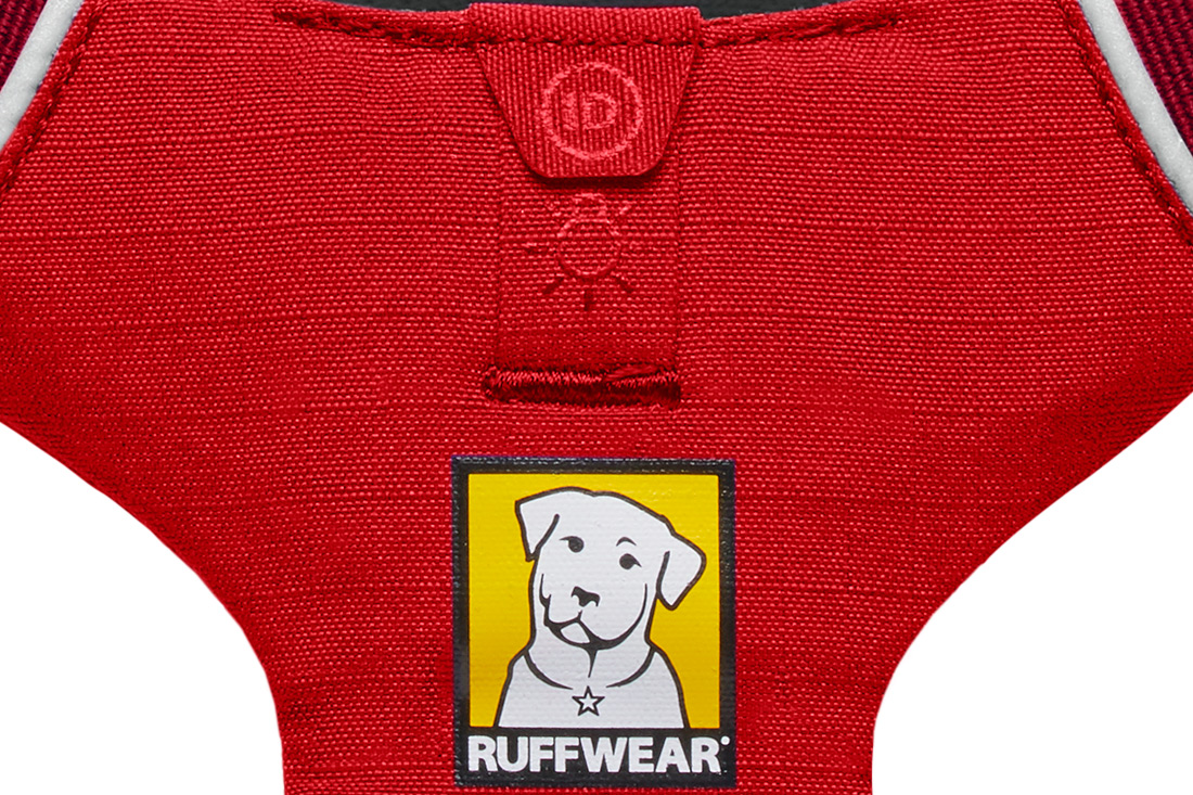Ruffwear Front Range HArness. Showing Light Loop Attachment for Ruffwear Beacon Light